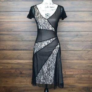 Black Silk Lace V Neck Short Sleeve Cocktail Dress